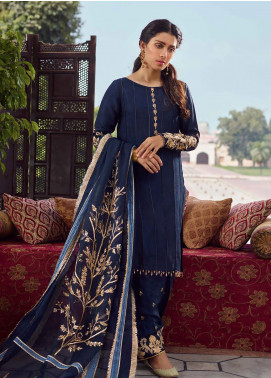 Qalamkar Embroidered Raw Silk Unstitched 3 Piece Suit QLM19WD 10 Sophiya - Wedding Collection