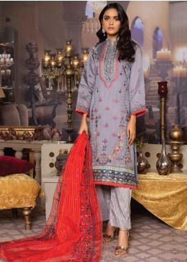 Qalamkari Handloom by MTF Embroidered Handloom Net Unstitched 3 Piece Suit MTF21QH 01 - Wedding Collection