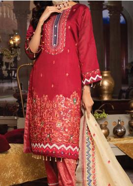 Qalamkari Handloom by MTF Embroidered Handloom Net Unstitched 3 Piece Suit MTF21QH 02 - Wedding Collection