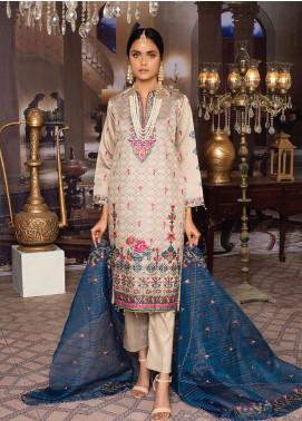 Qalamkari Handloom by MTF Embroidered Handloom Net Unstitched 3 Piece Suit MTF21QH 03 - Wedding Collection