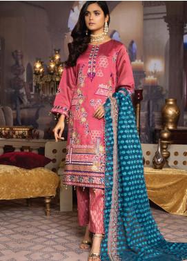 Qalamkari Handloom by MTF Embroidered Handloom Net Unstitched 3 Piece Suit MTF21QH 04 - Wedding Collection