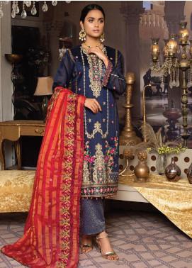 Qalamkari Handloom by MTF Embroidered Handloom Net Unstitched 3 Piece Suit MTF21QH 07 - Wedding Collection