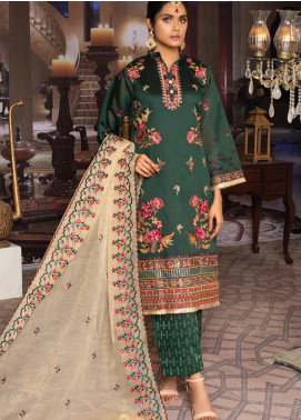 Qalamkari Handloom by MTF Embroidered Handloom Net Unstitched 3 Piece Suit MTF21QH 08 - Wedding Collection