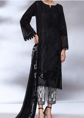 Qara by Charizma Embroidered Lawn Unstitched 3 Piece Suit CRZ20BW 04 - Black & White Collection