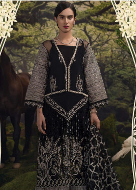 Qalamkar Embroidered Zari Net Unstitched 3 Piece Suit QLM18W 07 - Wedding Collection