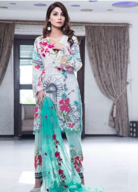 Rabea By Shariq Textiles Embroidered Lawn Unstitched 3 Piece Suit RBA19L 02 - Spring / Summer Collection