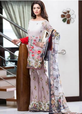 Rabea By Shariq Textiles Embroidered Lawn Unstitched 3 Piece Suit RBA19L 03 - Spring / Summer Collection