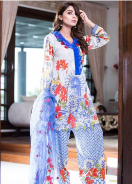 Rabea By Shariq Textiles Embroidered Lawn Unstitched 3 Piece Suit RBA19L 08 - Spring / Summer Collection