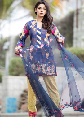 Rabea By Shariq Textiles Embroidered Lawn Unstitched 3 Piece Suit RBA19L 13 - Spring / Summer Collection