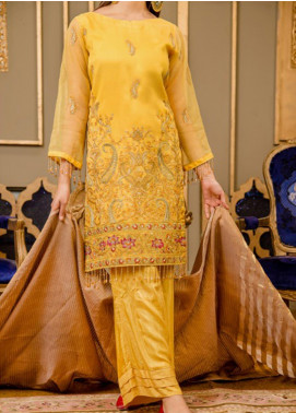 Rabia's Textiles Embroidered Organza Unstitched 3 Piece Suit RBA19F 01 OAK REALM - Festive Collection