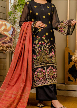 Rabia's Textiles Embroidered Chiffon Unstitched 3 Piece Suit RBA19F 02 PETUNIA PRIDE - Festive Collection
