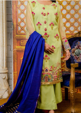 Rabia's Textiles Embroidered Organza Unstitched 3 Piece Suit RBA19F 03 NOBLE IRISES - Festive Collection