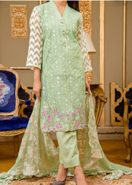 Rabia's Textiles Embroidered Organza Unstitched 3 Piece Suit RBA19F 04 ROYAL CARNATIONS - Festive Collection