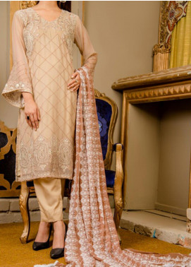 Rabia's Textiles Embroidered Chiffon Unstitched 3 Piece Suit RBA19F 05 GLADIOLUS REGENCY - Festive Collection