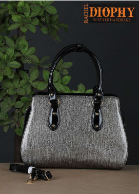 Rachel Diophy PU Leather Satchels Handbags for Women - Silver with Glossy Textured
