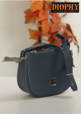 Rachel Diophy PU Leather Crossbody  Bags for Women - Blue with Plain Textured