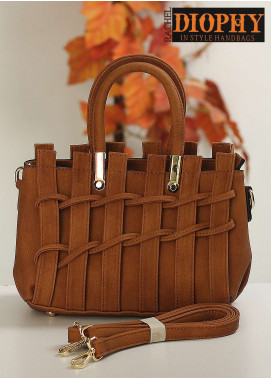 Rachel Diophy PU Leather Satchels Handbags for Women - Brown with Stripes