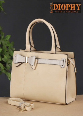 Rachel Diophy PU Leather Satchels Handbags for Women - Beige with Leather Textured