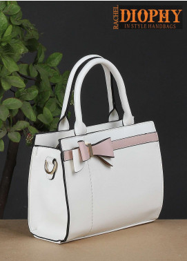 Rachel Diophy PU Leather Satchels Handbags for Women - White with Leather Textured
