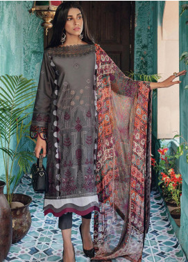 RajBari Embroidered Lawn Unstitched 3 Piece Suit RB20L 1-B - Luxury Collection