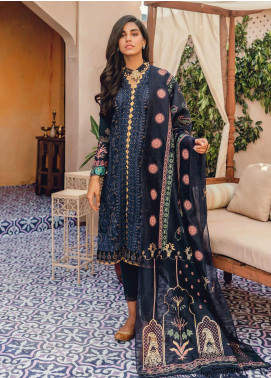 RajBari Embroidered Lawn Unstitched 3 Piece Suit RB20L 2-B - Luxury Collection