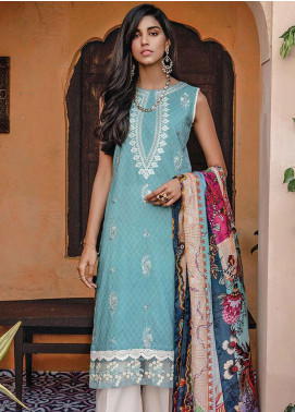 RajBari Embroidered Lawn Unstitched 3 Piece Suit RB20L 3-A - Luxury Collection