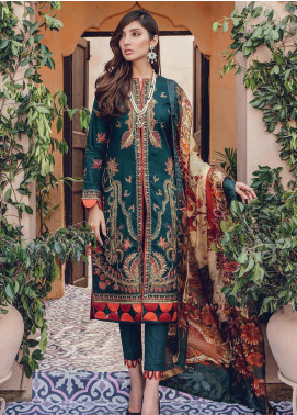 RajBari Embroidered Lawn Unstitched 3 Piece Suit RB20L 8-B - Luxury Collection