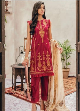 RajBari Embroidered Lawn Unstitched 3 Piece Suit RB20L 9-A - Luxury Collection