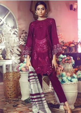 RajBari Embroidered Jacquard Unstitched 3 Piece Suit RB19WF 10A - Winter Collection
