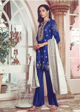 RajBari Embroidered Jacquard Unstitched 3 Piece Suit RB19WF 4B - Winter Collection