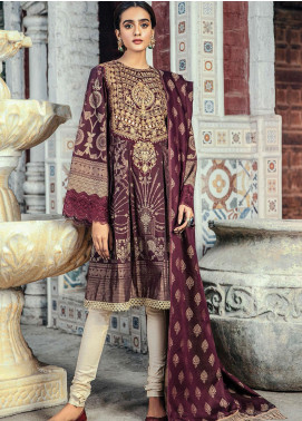 RajBari Embroidered Jacquard Unstitched 3 Piece Suit RB20PW D-02-B - Winter Collection
