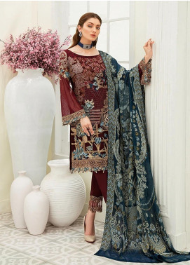 Ramsha Embroidered Chiffon Unstitched 3 Piece Suit RSH20C 1901 - Luxury Collection