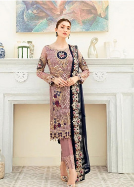 Ramsha Embroidered Chiffon Unstitched 3 Piece Suit RSH20C 1902 - Luxury Collection