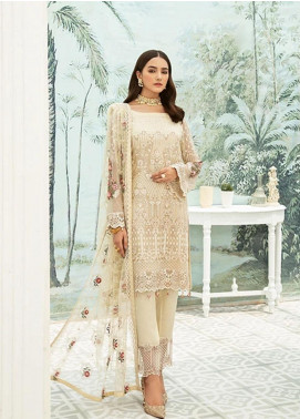 Ramsha Embroidered Chiffon Unstitched 3 Piece Suit RSH20C 1904 - Luxury Collection