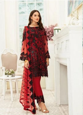 Ramsha Embroidered Chiffon Unstitched 3 Piece Suit RSH20C 1905 - Luxury Collection