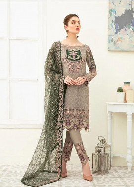Ramsha Embroidered Chiffon Unstitched 3 Piece Suit RSH20C 1906 - Luxury Collection
