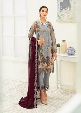 Ramsha Embroidered Chiffon Unstitched 3 Piece Suit RSH20C 1909 - Luxury Collection