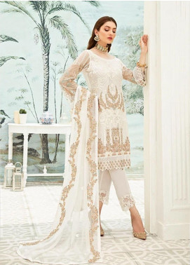 Ramsha Embroidered Chiffon Unstitched 3 Piece Suit RSH20C 1910 - Luxury Collection