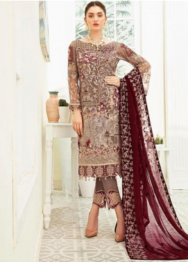 Ramsha Embroidered Chiffon Unstitched 3 Piece Suit RSH20C 1911 - Luxury Collection