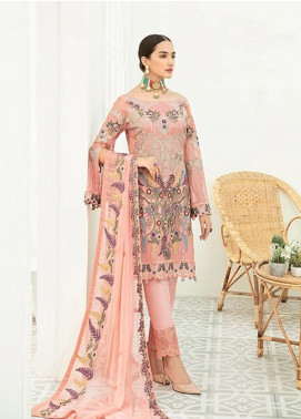 Ramsha Embroidered Chiffon Unstitched 3 Piece Suit RSH20C 1912 - Luxury Collection
