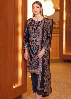 Ramsha Embroidered Velvet Unstitched 3 Piece Suit RSH21V 301 - Luxury Collection