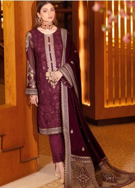 Ramsha Embroidered Chiffon Unstitched 3 Piece Suit RSH21V 304 - Luxury Collection