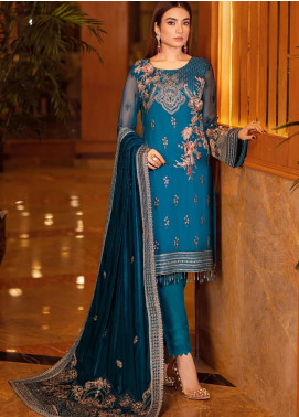 Ramsha Embroidered Chiffon Unstitched 3 Piece Suit RSH21V 306 - Luxury Collection