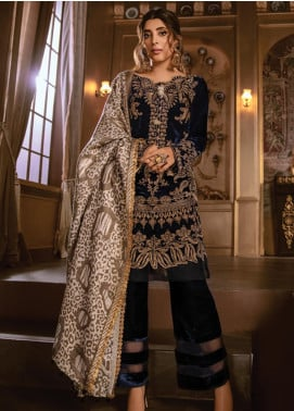 Rang Rasiya Embroidered Velvet Unstitched 3 Piece Suit RR19W 1308 - Winter Collection