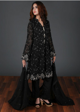 Rang Embroidered Chiffon Stitched 3 Piece Suit Black RG-0041