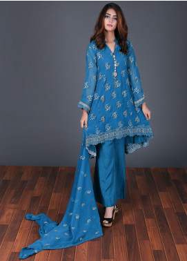 Rang Embroidered Chiffon Stitched 3 Piece Suit Light Blue RG-0046