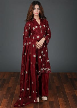 Rang Embroidered Chiffon Stitched 3 Piece Suit Maroon RG-0042