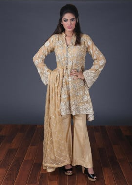 Rang Embroidered Chiffon Stitched 3 Piece Suit RG0053 Golden