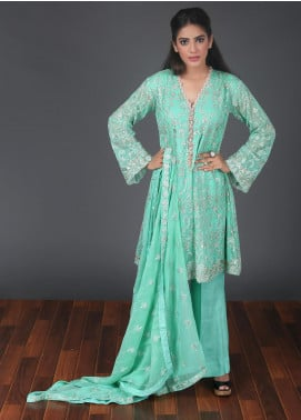 Rang Embroidered Chiffon Stitched 3 Piece Suit RG0054 Light Green