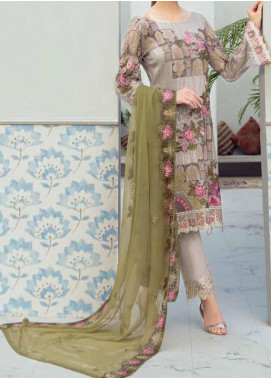 Rangoon by Ramsha Embroidered Chiffon Unstitched 3 Piece Suit RSH20-R6 602 SUMMER MEADOW - Luxury Collection